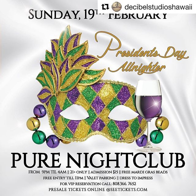 "#Repost @decibelstudioshawaii ""Let the good times roll"" Just in time for Mardi Gras! Break out the beads and lets celebrate @purenightclubhawaii The Official ""Allnighter"" returns on 19 Feb 2017! Presidents Day Weekend! All other parties are imitations! 3 DJ's / Full VIP Bottle Service! EVERYONE FREE TILL 11pm @hotlavahawaii @decibelstudioshawaii @purenightclubhawaii #hawaii #military #allnighter #decibelstudioshawaii - from Instagram"