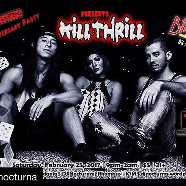 #Repost @djnocturna #KillThrill rocks #Bar35 Please join us at @bar35hawaii on Saturday Feb 25 for this amazing show ! #rock #alternative #metal #DJNocturna #BeauTetra #80s #PostPunk #goth #808tonight - from Instagram