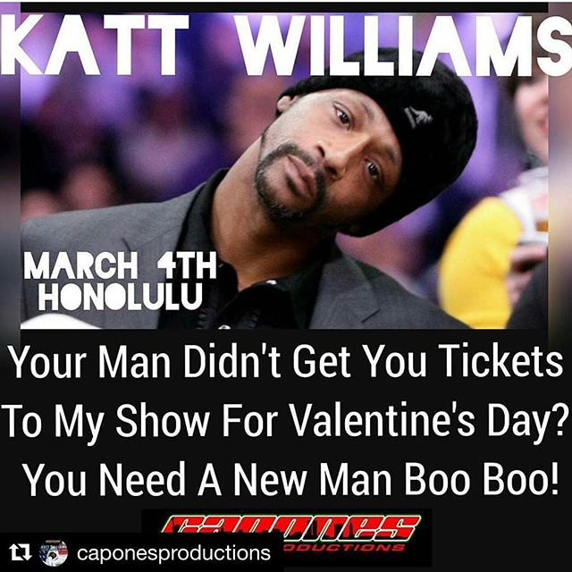 "#Repost @caponesproductions Just a reminder...""KATT WILLIAMS"" returns to Hawaii on March 4th at the Blaisdell Arena, as he makes a stop in paradise during his Great America Tour & bringing along with him an all star opening act lineup Red Grant, Mark Curry, Chalant Pfizer and Cort Zoo Man Miller. Tickets are on sale now & they're going fast! If you want VIP accommodations or to be a vendor...contact Capone at 306-2926 or 200-4339 #caponesproductions #fanpoweredentertainmentsupplied #youknowhowwedo  #signsbydey #daveandbustershawaii - from Instagram"